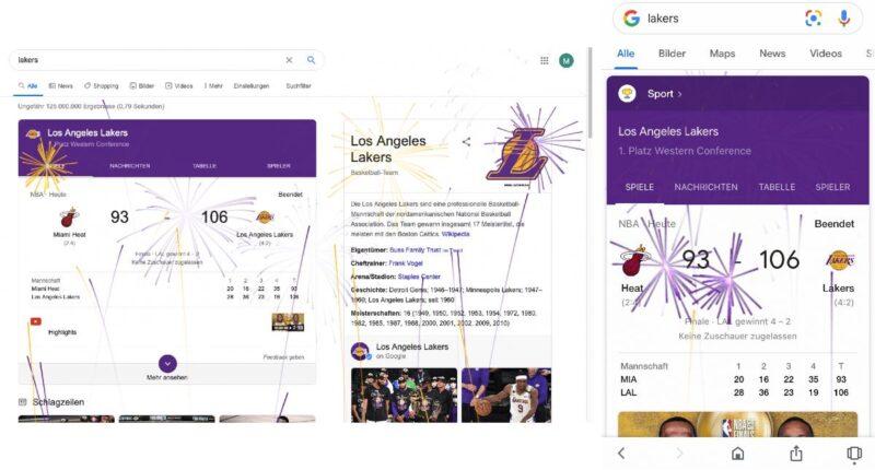 """Anlässlich des 17. Titelgewinns der Los Angeles Lakers zündet Google ein Feuerwerk in einigen SERPs. Vermutlich bringt ein Fan der Lakers unter den Mitarbeitern des Suchmaschinengiganten so seine Freude über den Triumph zum Ausdruck. Das Feuerwerk ist eines von vielen sogenannten """"Easter Eggs"""", die in den Googleprodukten zu finden sind."""